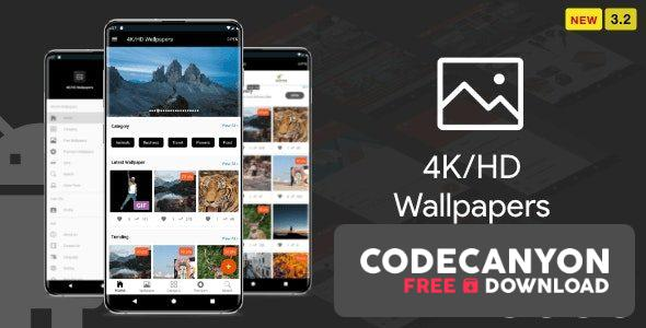 Download 4K/HD Wallpaper Android App v3.2 – ( Auto Shuffle + Gif + Live + Admob + Firebase Noti + PHP Backend) Free / Nulled