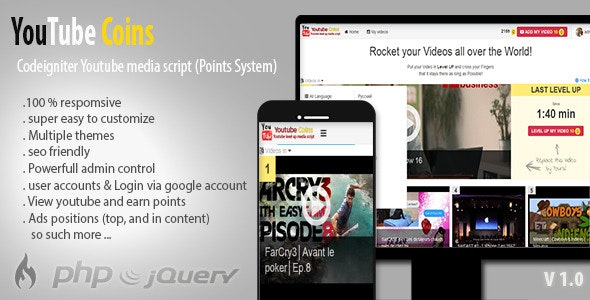 Download YouTube Coins v2.0.0 - (Media Script + Points System) Free / Nulled