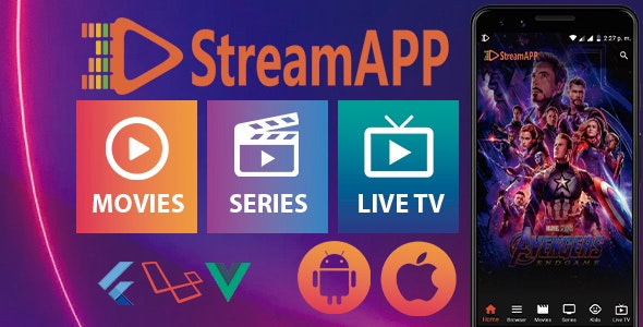 Download StreamApp v1.1 - Streaming Movies, TV Series and Live TV - Flutter Full App with Admin Panel Free / Nulled