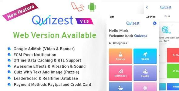 Download Quizest v1.5 - Complete Quiz Solutions With Android App And Interactive Admin Panel Free / Nulled