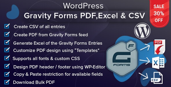 Download WordPress Gravity Forms v1.2.2 - PDF, Excel & CSV Free / Nulled