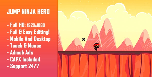 Download Jump Ninja Hero v - HTML5 Game + Mobile Version! (Construct 2 / Construct 3 / CAPX) Free / Nulled