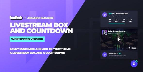 Download Twitch LiveStream Box and Countdown v1.0.0 - WordPress Plugin Free / Nulled