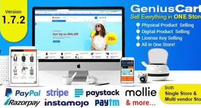Download GeniusCart v1.7 - Single or Multivendor Ecommerce System with Physical and Digital Product Marketplace Free / Nulled