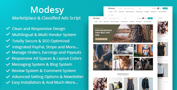 Download Modesy v1.5.3 - Marketplace & Classified Ads Script - nulled Free / Nulled