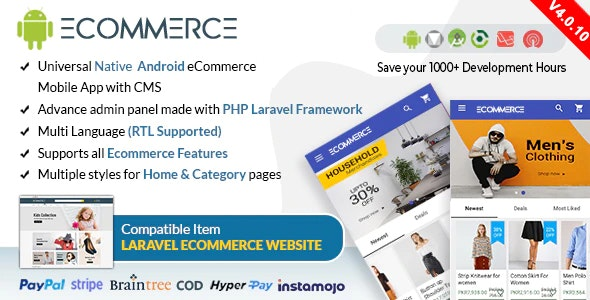 Download Android Ecommerce v4.0.10 - Universal Android Ecommerce / Store Full Mobile App with Laravel CMS Free / Nulled