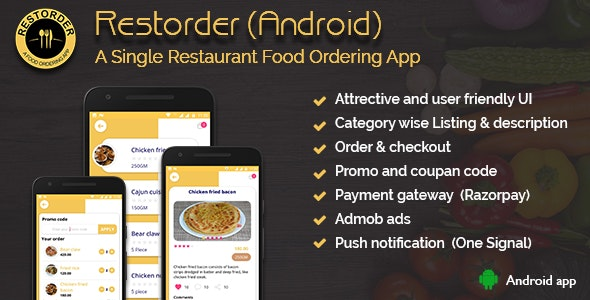 Download Restorder (Android) v1.0 - A single restaurant food ordering app Free / Nulled