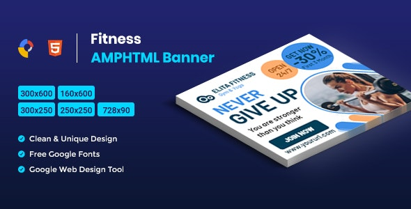Download Fitness AMPHTML Banners v1.0 - Ads template Free / Nulled
