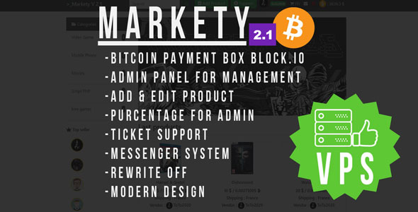 Download Markety  v2.1 - Multi-Vendor Marketplace In Bitcoin PHP Free / Nulled