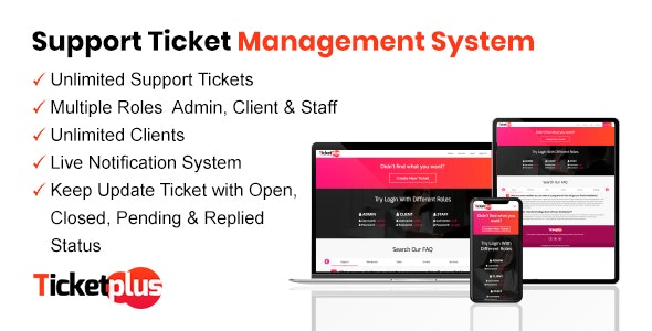 Download TicketPlus  v1.0 - Support Ticket Management System Free / Nulled