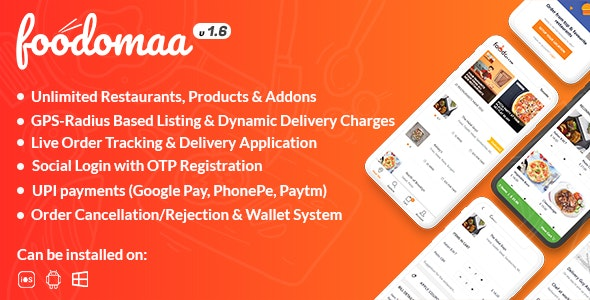 Download Foodomaa v1.7.1 - Multi-restaurant Food Ordering, Restaurant Management and Delivery Application - nulled Free / Nulled