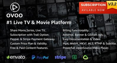 Download OVOO v3.2.0 - Live TV & Movie Portal CMS with Membership System - nulled Free / Nulled