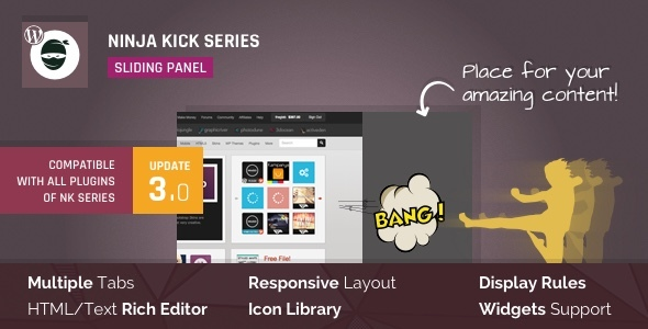 Download Ninja Kick v3.0.13 - Sliding Panel for WordPress Free / Nulled