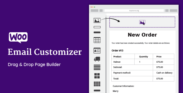 Download WooCommerce Email Customizer v1.5.14 - with Drag and Drop Free / Nulled