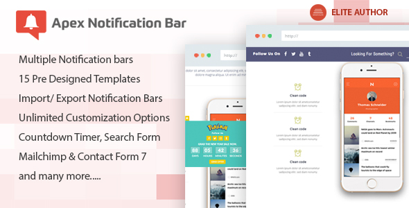 Download Apex Notification Bar v2.1.3 - Responsive Notification Bar Free / Nulled