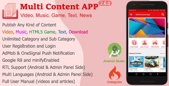 Download Multi Content APP v2.6.0 - Video, music, game, text, news Free / Nulled