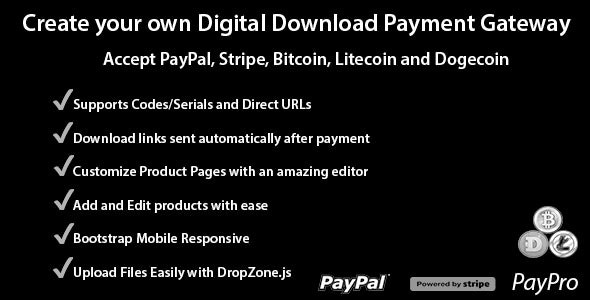 Download PayPro v1.3.0 - Your Own Digital Download Payment Gateway Free / Nulled