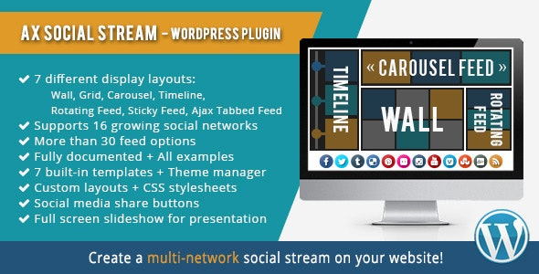 Download AX Social Stream v3.7.9 - WP Plugin Free / Nulled