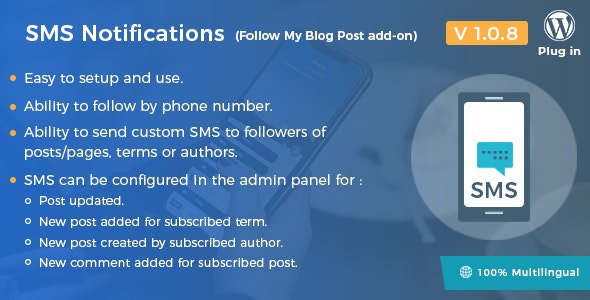 Download SMS Notifications v1.0.8 - Follow My Blog Post add-on Free / Nulled