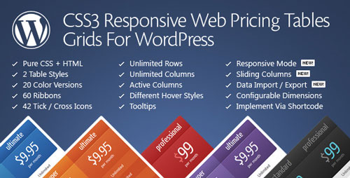 Download CSS3 Responsive Web Pricing Tables Grids v11.1 - WP Plugin Free / Nulled