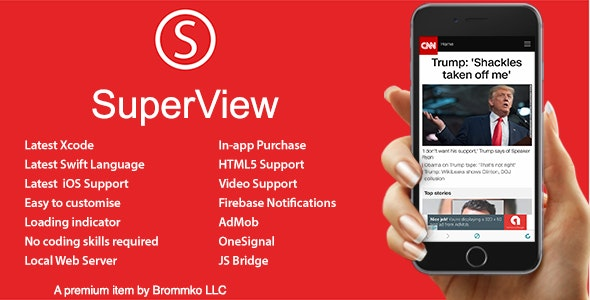 Download SuperView v3.0.0 - WebView App for iOS with Push Notification, AdMob, In-app Purchase Free / Nulled