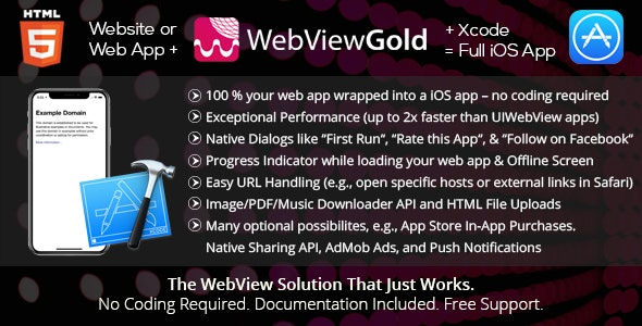 Download WebViewGold for iOS v7.1 - WebView URL/HTML to iOS app + Push, URL Handling, APIs & much more! Free / Nulled