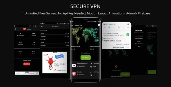 Download Secure VPN v1.0 - (Unlimted Free Servers + Admob + Motion Layout) Free / Nulled