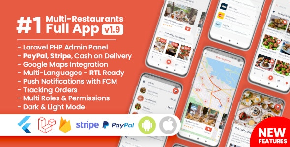 Download Food Delivery Flutter+ PHP Laravel Admin Panel v1.9.4 - Nulled Free / Nulled