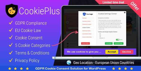Download Cookie Plus v1.4.5 - GDPR Cookie Consent Solution Free / Nulled