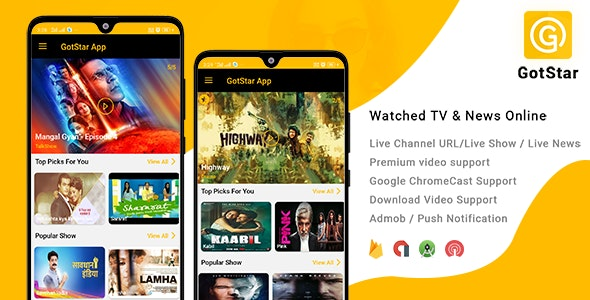 Download GotStar v1.0 - Android Live TV - Live Streaming - Web Series, Movies, Live Cricket - Online News Free / Nulled