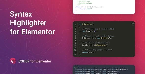 Download Coder v1.0.0 - Syntax Highlighter for Elementor Free / Nulled