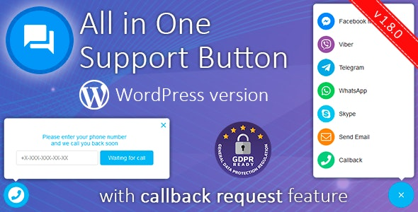 Download Contact us all-in-one button with callback v1.8.1 - WhatsApp, Messenger, Telegram, LiveChat and more... Free / Nulled