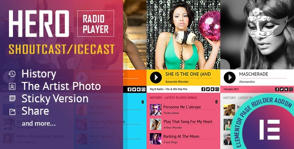 Download Hero v1.0.0 - Shoutcast and Icecast Radio Player With History - Elementor Widget Addon Free / Nulled