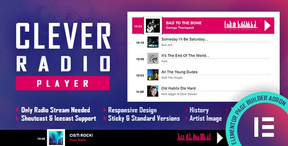 Download CLEVER v1.0.0 - HTML5 Radio Player With History - Shoutcast and Icecast - Elementor Widget Addon Free / Nulled