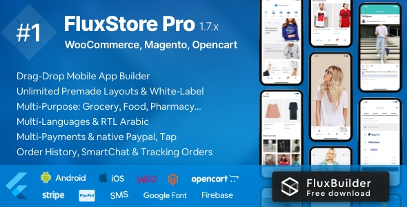 Download Fluxstore Pro v1.7.3 - Flutter E-commerce Full App for Magento, Opencart, and Woocommerce Free / Nulled
