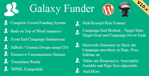 Download Galaxy Funder v11.5 - WooCommerce Crowdfunding System Free / Nulled