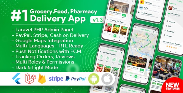 Download Grocery, Food, Pharmacy, Store Delivery Mobile App with Admin Panel v1.3.0 - Nulled Free / Nulled