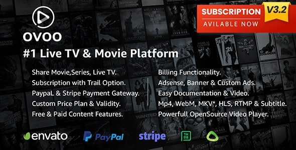 Download OVOO v3.2.4 - Live TV & Movie Portal CMS with Membership System - nulled Free / Nulled