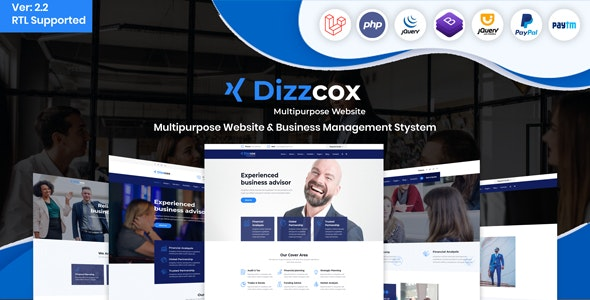 Download Dizzcox v2.2 - Multipurpose Website & Business Management System CMS Free / Nulled