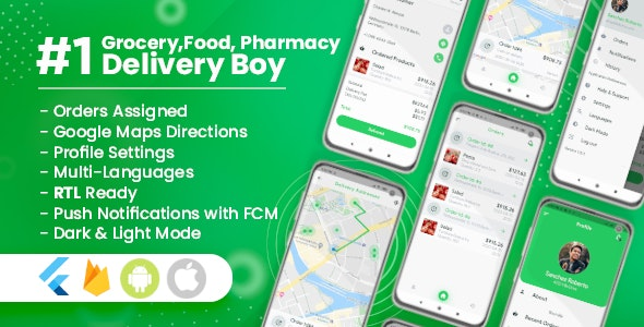 Download Delivery Boy for Groceries, Foods, Pharmacies, Stores Flutter App v1.0.1 - Mobile App Free / Nulled