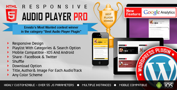 Download Responsive HTML5 Audio Player PRO v2.8.0 - WordPress Plugin Free / Nulled