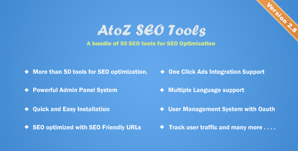 Download AtoZ SEO Tools v2.9 - Search Engine Optimization Tools - nulled Free / Nulled