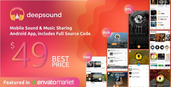 Download DeepSound Android v1.5 - Mobile Sound & Music Sharing Platform Mobile Android Application Free / Nulled