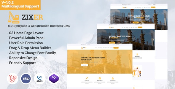 Download Zixer v1.0.2 - Multipurpose Website & Construction Business Company CMS - nulled Free / Nulled