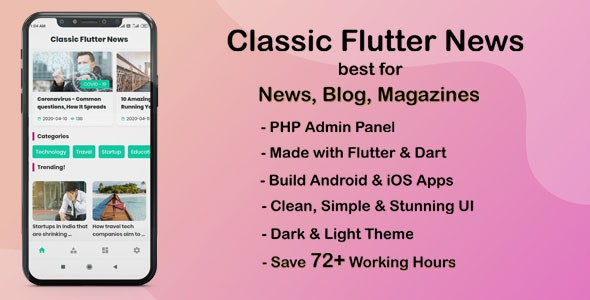 Download Classic Flutter News App v1.0 - best for News, Blog and Magazines Free / Nulled