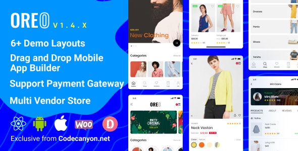 Download Oreo Fashion v1.4.3.1 - Full React Native App for Woocommerce Free / Nulled