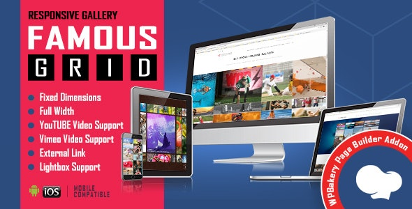 Download Famous v1.0.2.3 - Responsive Image & Video Grid Gallery for WPBakery Page Builder Free / Nulled