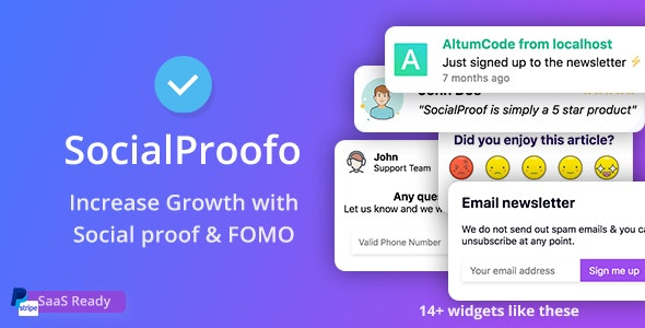 Download SocialProofo v1.7.7 - 14+ Social Proof & FOMO Notifications for Growth (SaaS Ready) - nulled Free / Nulled