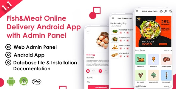 Download Fish And Meat Online Delivery Android App with Interactive Admin Panel v1.1 - Mobile App Free / Nulled