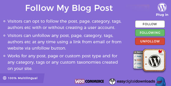 Download Follow My Blog Post v2.0.2 - WordPress / WooCommerce Plugin Free / Nulled